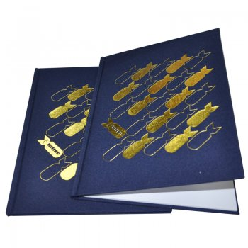free sample volume/ production OEM PU leather hardcover book with/ hot stamping