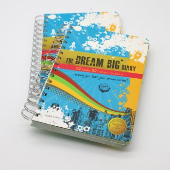 Custom high quality promotion soft cover spiral bound CMKY recordable notebook